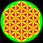 """Ornment """"Blume des Lebens"""" in rot-gelb-grün"""