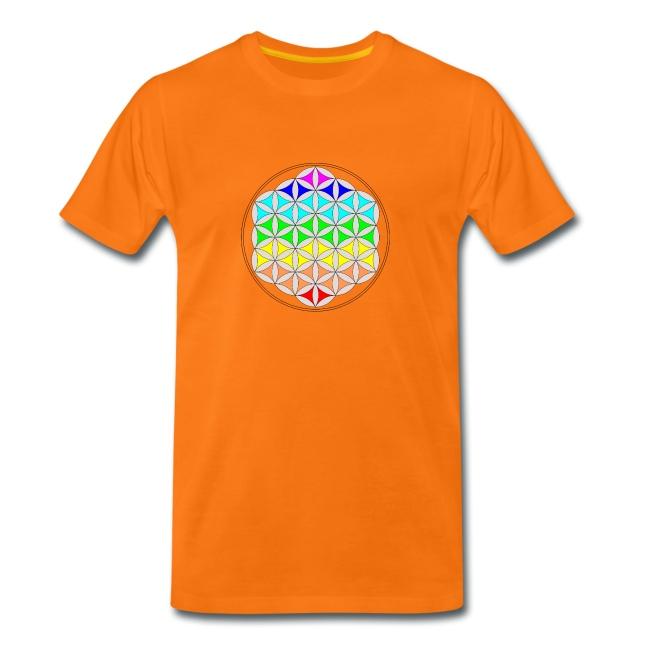 """Orange-farbenes T-Shirt mit Motiv """"Blume des Lebens"""""""
